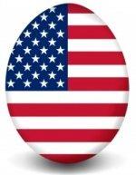 An egg-shaped flag of the USA.