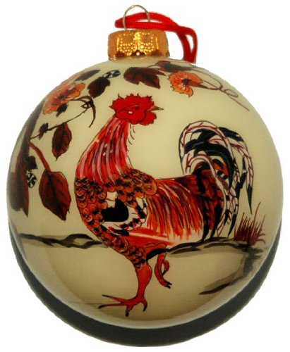 Link to buy a beautiful hand-blown rooster Christmas tree decoration.