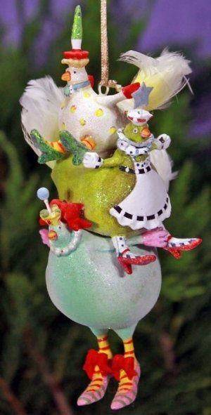 Love chickens and love Christmas? You'll love this Three French hens Christmas tree ornament from Patience Brewster. See more chicken-themed Christmas tree ornaments here.