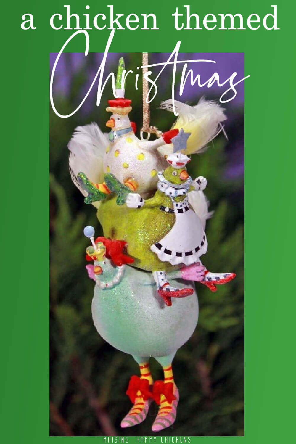 Looking for chicken-themed Christmas tree ornaments? Here's a great selection! #backyardchickens #chickenthemedgifts #tistheseason #raisinghappychickens