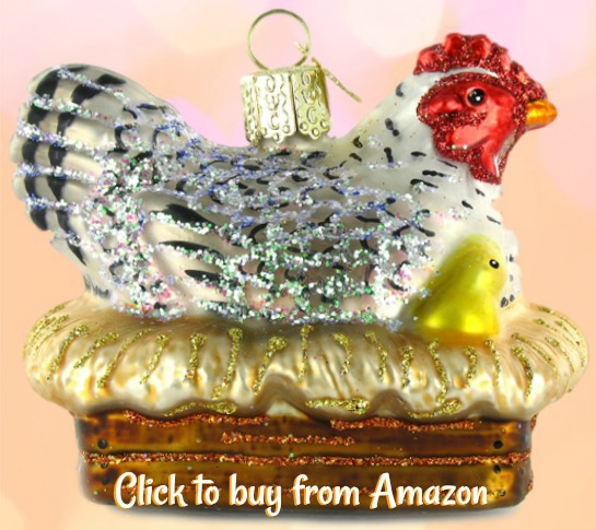 A glass Old World Christmas tree ornament: hen on nest. One of my favourite traditional decorations which is pretty unique and adds a generous sparkle to my holiday decor!