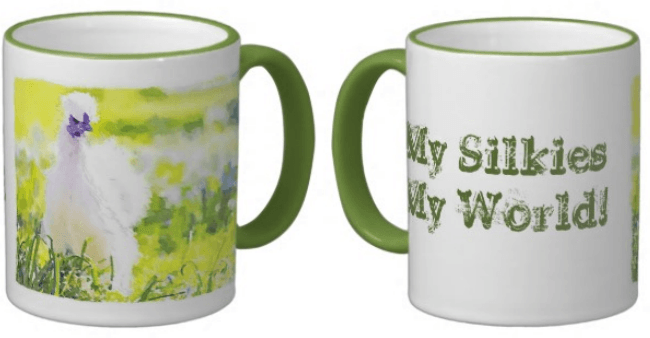 Silkie chickens mug clickable link to sales page.