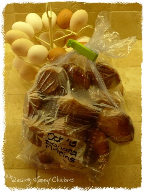 Banana muffins in freezer bag and eggs