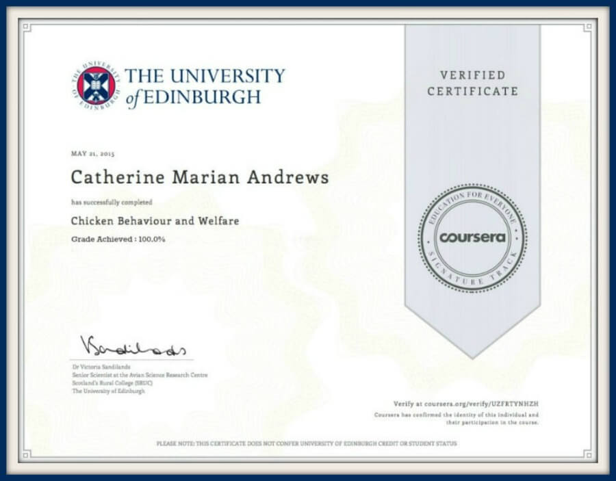 My certificate in chicken welfare and behaviour.