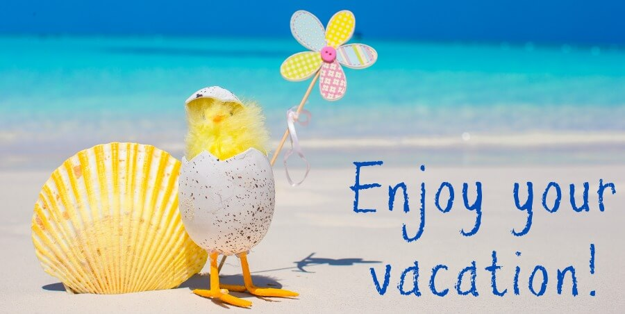 Chicken on beach with windmill - enjoy your vacation!