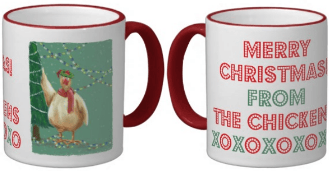 Christmas chicken coffee mug link to sales page.