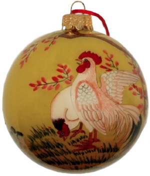 Love Christmas decorations and love chickens? This beautiful, classy glass bauble is exactly what you're looking for. Makes a great gift, or treat yourself!