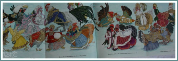 'Cinders, a Christmas Cinderalla' - the best Christmas book for chicken lovers - centrefold.