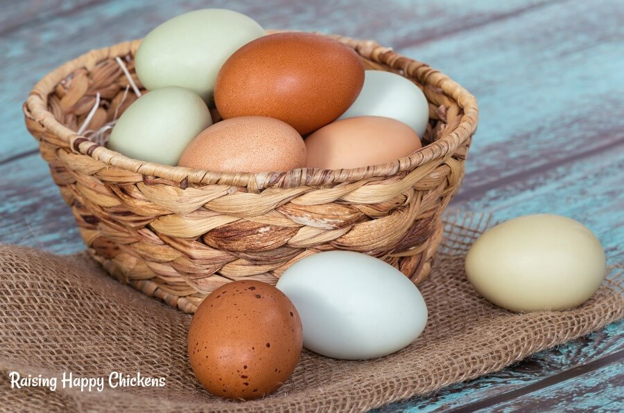 Coloured eggs in a basket.