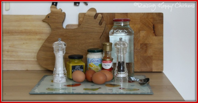 Classic deviled eggs recipe ingredients.