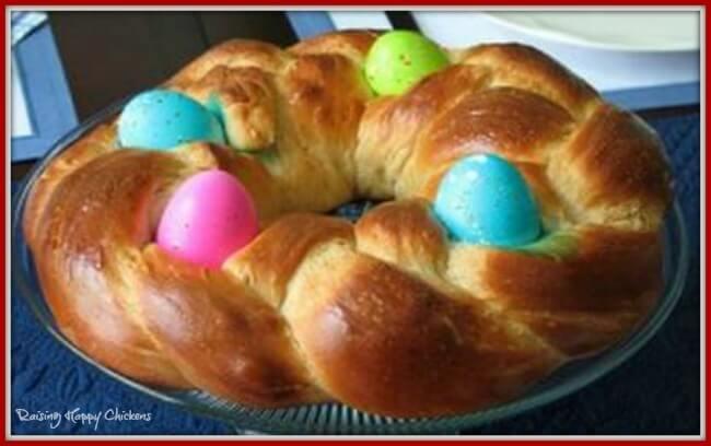 Italian style Easter bread using coloured eggs.