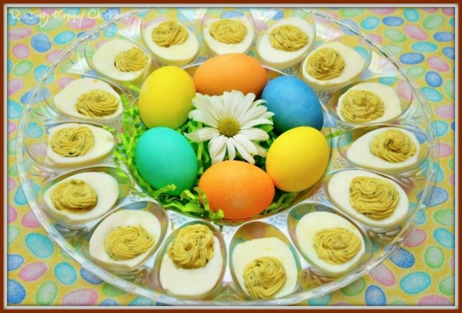 An Easter deviled egg arrangement
