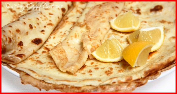 English pancakes served with sugar and lemon juice.
