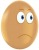 Egg with a glum face