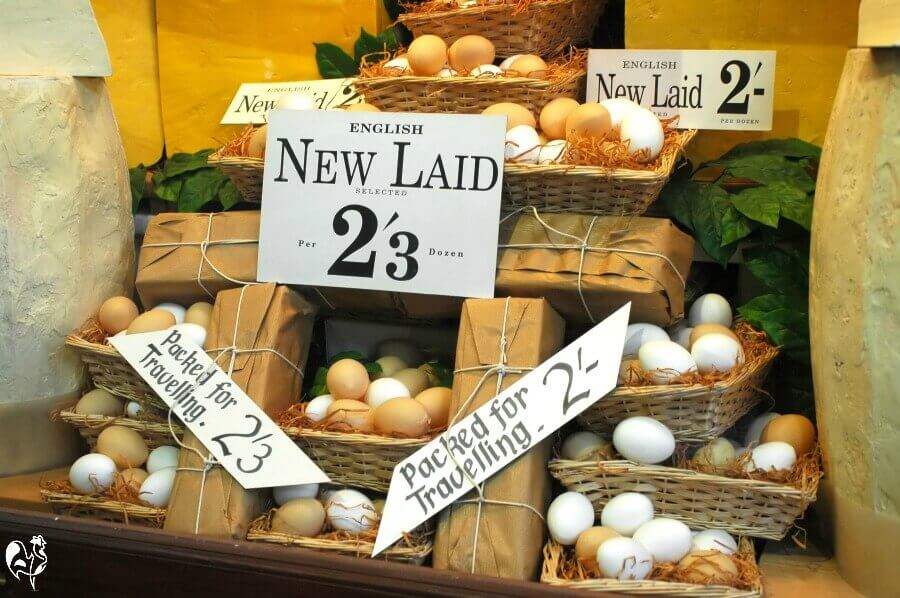 Eggs for sale in an old English shop.