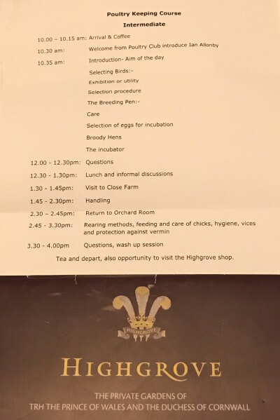 Highgrove House's intermediate level poultry course timetable.