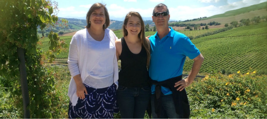 Lori and her family in our local vineyard.