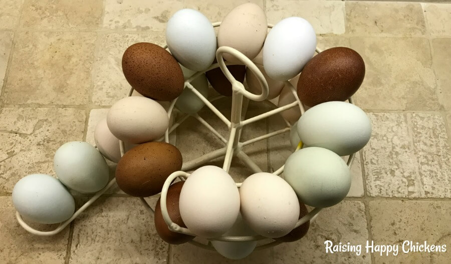The egg skelter with some of my girls' gorgeous, colourful eggs. Easy storage for fresh eggs every time.