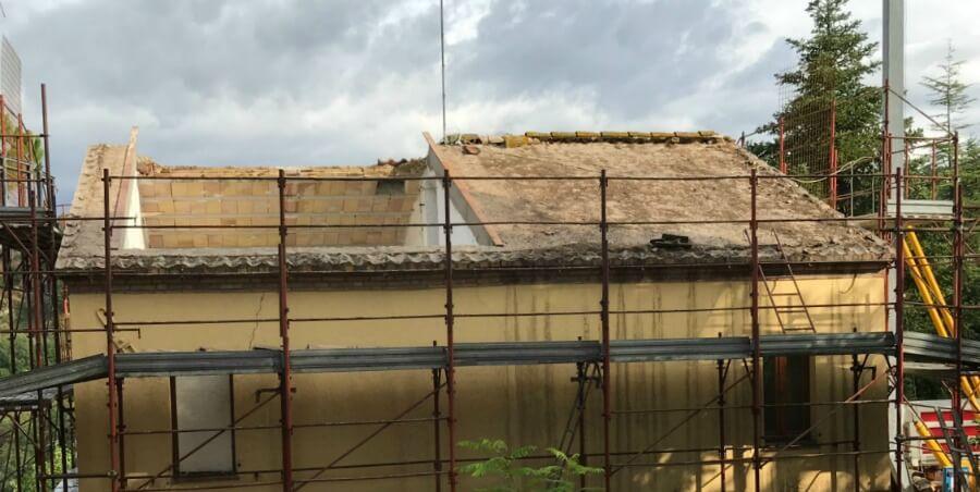 Our Italian house, minus roof. Post earthquake damage, 2016.
