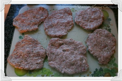 Flatten the meat into roughly round shapes