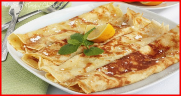 English pancakes - thin, with lemon and sugar.