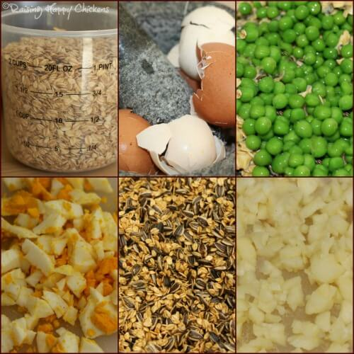 A collage of  ingredients for the high protein chicken treat. Add whatever you have in your store cupboard that's high protein - find out more here.