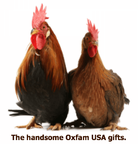 Oxfam Unwrapped America's chicken gifts.