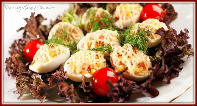 Deviled eggs as part of a salad.