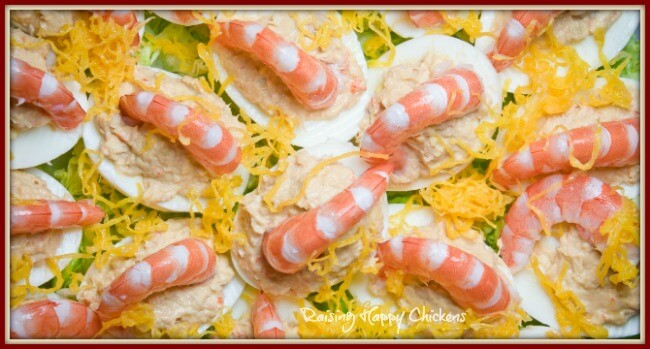 Deviled eggs with shrimp.