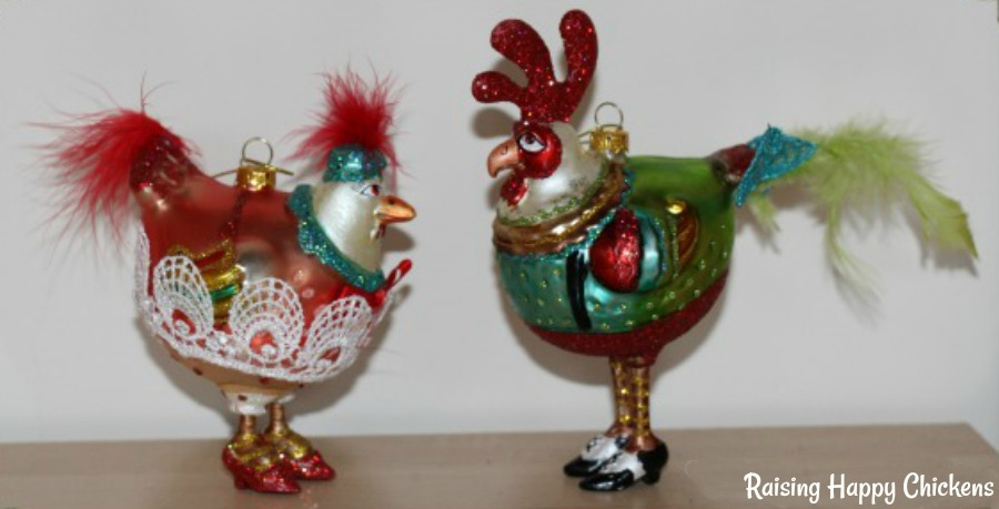 Two of my chicken glass ornaments for the Christmas tree.