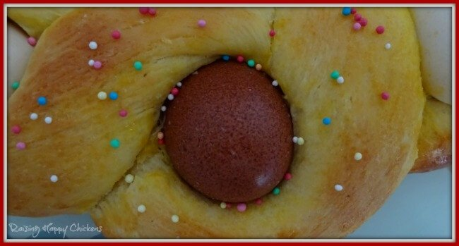 Italian Easter bread includes eggs which cook with the dough.
