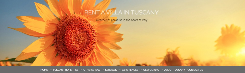 Rent a Villa in Tuscany website header.