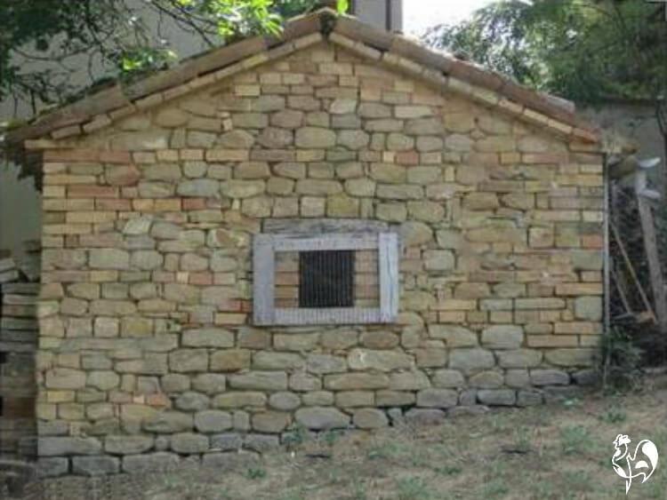 A stone built chicken coop